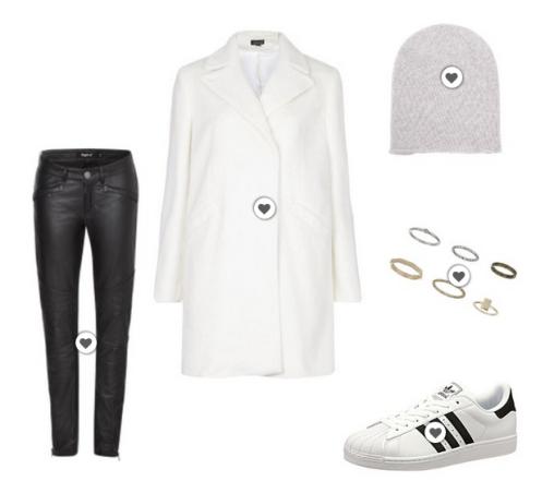 Adidas Superstar für Damen kombiniert mit Mantel, Mütze und Lederhose.